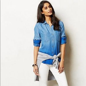 Anthropologie Ombre Chambray Button Down
